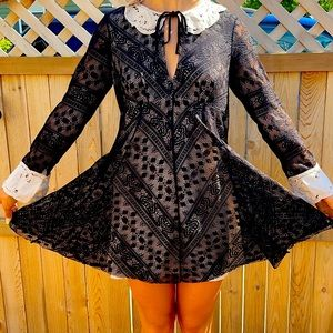 Free people black lace dress sz8 white collar